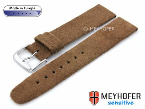 Watch strap -Licata- 16mm brown VEGAN Alcantara suede like by MEYHOFER (width of buckle 14 mm) - Bild vergrößern