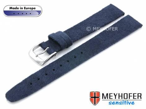 Watch strap -Licata- 14mm dark blue VEGAN Alcantara suede like by MEYHOFER (width of buckle 12 mm) - Bild vergrößern