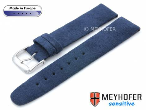 Watch strap -Licata- 20mm dark blue VEGAN Alcantara suede like by MEYHOFER (width of buckle 18 mm) - Bild vergrößern