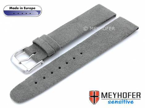 Watch strap -Licata- 20mm grey VEGAN Alcantara suede like by MEYHOFER (width of buckle 18 mm) - Bild vergrößern