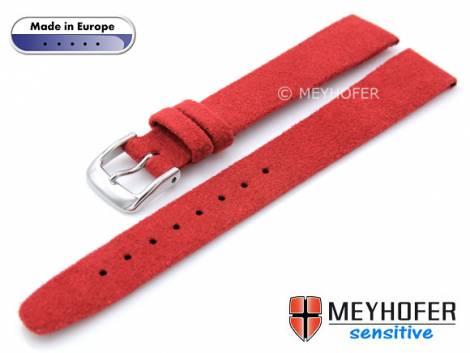 Watch strap -Licata- 14mm red VEGAN Alcantara suede like by MEYHOFER (width of buckle 12 mm) - Bild vergrößern