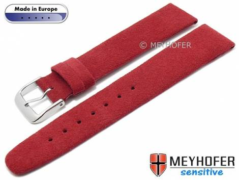 Watch strap -Licata- 16mm red VEGAN Alcantara suede like by MEYHOFER (width of buckle 14 mm) - Bild vergrößern