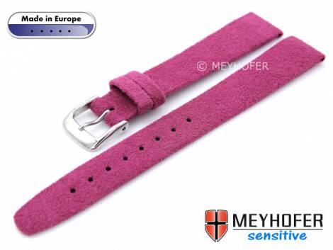 Watch strap -Licata- 14mm telemangenta VEGAN Alcantara suede like by MEYHOFER (width of buckle 12 mm) - Bild vergrößern