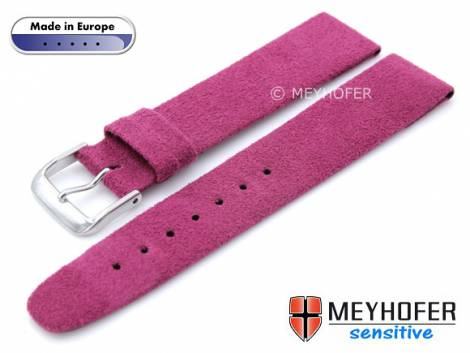 Watch strap -Licata- 22mm telemangenta VEGAN Alcantara suede like by MEYHOFER (width of buckle 20 mm) - Bild vergrößern