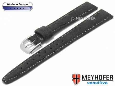 Watch strap -Caporetto- 14mm anthracite VEGAN suede like by MEYHOFER (width of buckle 12 mm) - Bild vergrößern