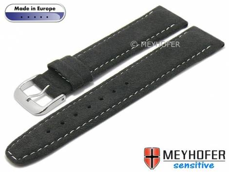 Watch strap -Caporetto- 18mm anthracite VEGAN suede like by MEYHOFER (width of buckle 16 mm) - Bild vergrößern