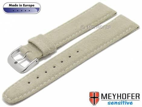 Watch strap -Caporetto- 16mm light beige VEGAN suede like by MEYHOFER (width of buckle 14 mm) - Bild vergrößern