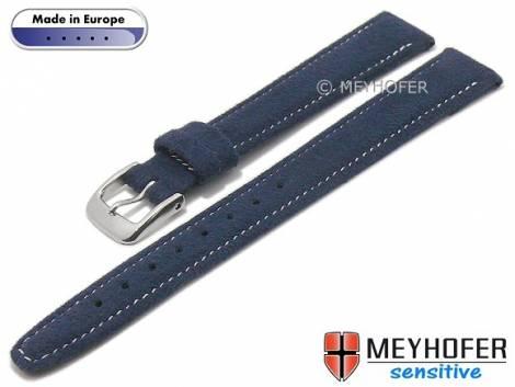 Watch strap -Caporetto- 14mm dark blue VEGAN suede like by MEYHOFER (width of buckle 12 mm) - Bild vergrößern