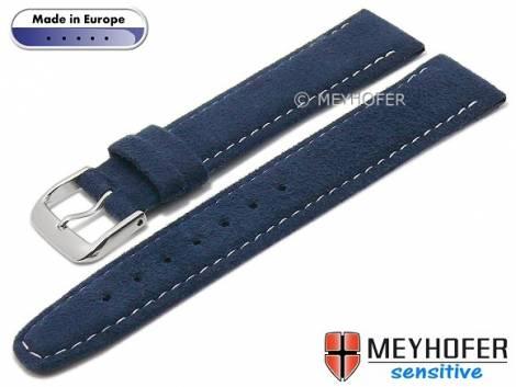 Watch strap -Caporetto- 16mm dark blue VEGAN suede like by MEYHOFER (width of buckle 14 mm) - Bild vergrößern
