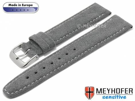 Watch strap -Caporetto- 16mm dark grey VEGAN suede like by MEYHOFER (width of buckle 14 mm) - Bild vergrößern