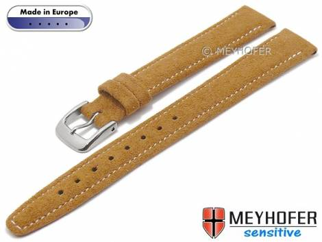 Watch strap -Caporetto- 14mm light brown VEGAN suede like by MEYHOFER (width of buckle 12 mm) - Bild vergrößern