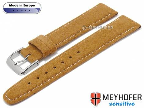 Watch strap -Caporetto- 16mm light brown VEGAN suede like by MEYHOFER (width of buckle 14 mm) - Bild vergrößern