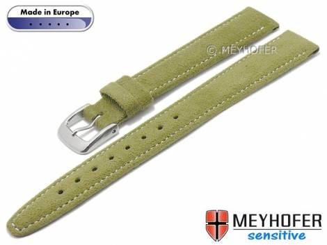 Watch strap -Caporetto- 14mm oliv green VEGAN suede like by MEYHOFER (width of buckle 12 mm) - Bild vergrößern