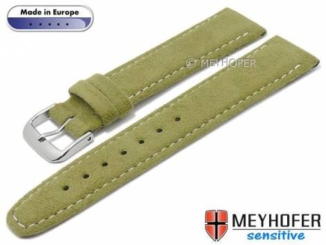 Watch strap -Caporetto- 16mm oliv green VEGAN suede like by MEYHOFER (width of buckle 14 mm) - Bild vergrößern