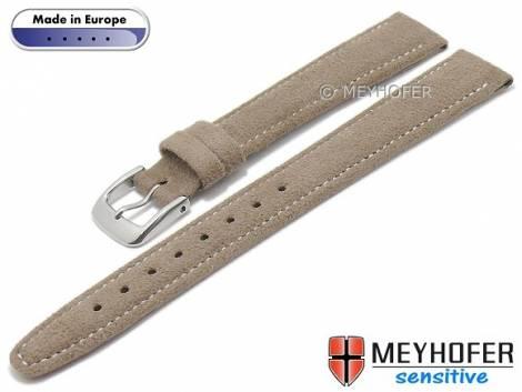 Watch strap -Caporetto- 14mm brown VEGAN suede like by MEYHOFER (width of buckle 12 mm) - Bild vergrößern