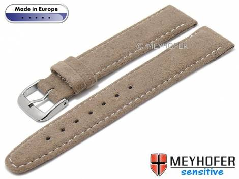 Watch strap -Caporetto- 22mm brown VEGAN suede like by MEYHOFER (width of buckle 20 mm) - Bild vergrößern