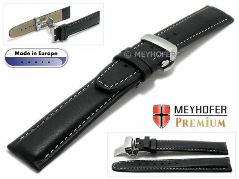 Watch strap L (long) -Carpi- 19mm black grained light stitching with clasp by MEYHOFER (width of clasp 18 mm) - Bild vergrößern