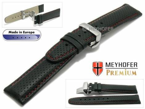 Watch strap -Ferrara- 18mm black leather perforated red stitching with clasp by MEYHOFER (width of clasp 18 mm) - Bild vergrößern
