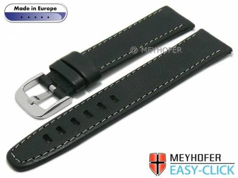Meyhofer EASY-CLICK watch strap -Reka- 18mm black leather grained light stitching (width of buckle 18 mm) - Bild vergrößern