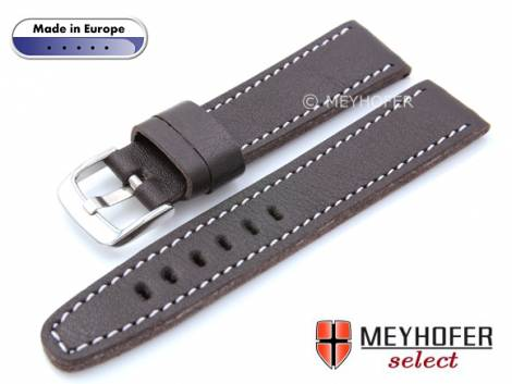 Watch strap -Alcamo- 22mm dark brown leather grained robust & soft light stitching by MEYHOFER (width of buckle 20 mm) - Bild vergrößern