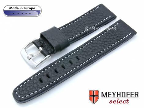 Watch strap -Alcamo- 22mm black leather grained robust & soft light stitching by MEYHOFER (width of buckle 20 mm) - Bild vergrößern