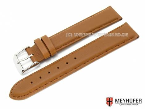 Watch band -Kiruna- 17mm light brown XL smooth surface by MEYHOFER (width of buckle 16 mm) - Bild vergrößern