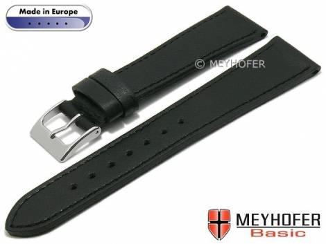 Basic watch strap -Springville- 22mm black leather grained stitched by MEYHOFER (width of buckle 18 mm) - Bild vergrößern