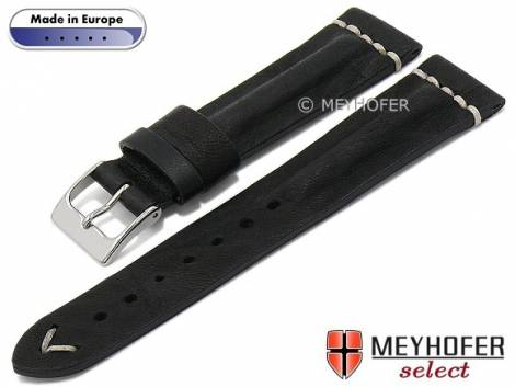 Hand made watch strap -Bozeman- 20mm black leather vintage look light stitching by MEYHOFER (width of buckle 16 mm) - Bild vergrößern