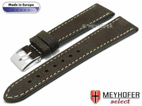 Hand made watch strap -Billings- 22mm dark brown leather vintage look light stitching MEYHOFER (width of buckle 18 mm) - Bild vergrößern