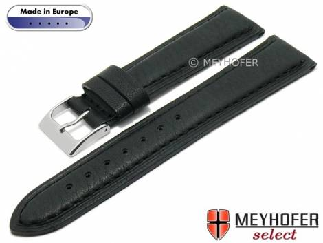 Hand made watch strap -Glendive- 20mm black leather grained matt stitched by MEYHOFER (width of buckle 18 mm) - Bild vergrößern