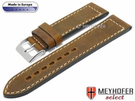 Hand made watch strap -Sheridan- 20mm light brown leather vintage look light stitching MEYHOFER (width of buckle 18 mm) - Bild vergrößern