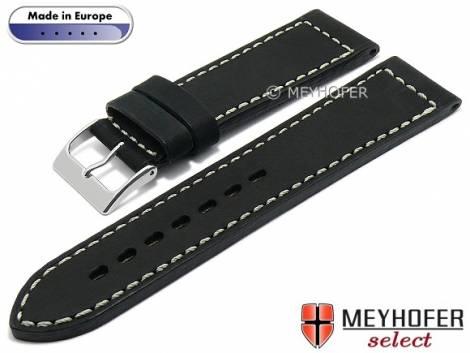 Hand made watch strap -Sheridan- 24mm black leather vintage look light stitching by MEYHOFER (width of buckle 22 mm) - Bild vergrößern