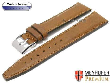 Hand made watch strap -Millbrook- 20mm light brown leather smooth matt stitched by MEYHOFER (width of buckle 18 mm) - Bild vergrößern