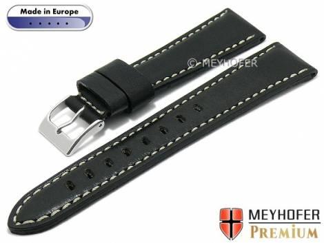Hand made watch strap -Pescara- 18mm black leather vintage look light stitching by MEYHOFER (width of buckle 16 mm) - Bild vergrößern