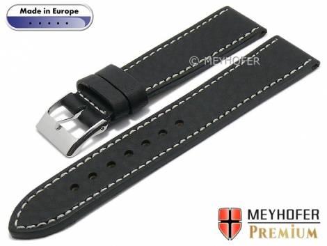 Watch strap -Anzio- 22mm black leather grained light stitching by MEYHOFER (width of buckle 20 mm) - Bild vergrößern