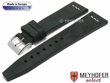 Hand made watch strap -Catanzaro- 22mm black leather vintage look light stitching by MEYHOFER (width of buckle 18 mm) - Bild vergrößern