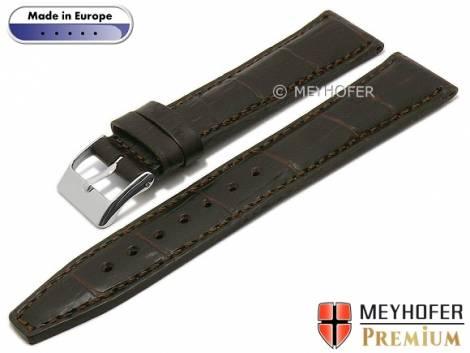 Watch strap -Niceville- 20mm dark brown leather alligator grain stitched by MEYHOFER (width of buckle 18 mm) - Bild vergrößern