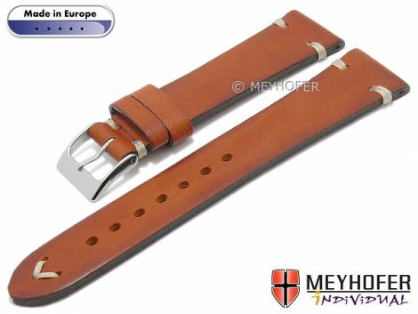 Hand made watch strap -Havre- 16mm golden brown leather vintage look light stitching by MEYHOFER (width of buckle 14 mm) - Bild vergrößern