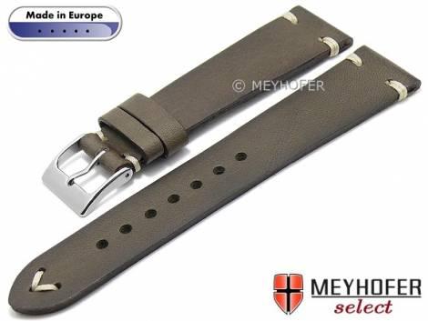 Hand made watch strap -Havre- 16mm grey leather vintage look light stitching by MEYHOFER (width of buckle 14 mm) - Bild vergrößern