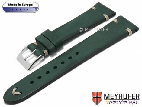 Hand made watch strap -Havre- 16mm dark green leather vintage look light stitching by MEYHOFER (width of buckle 14 mm) - Bild vergrößern