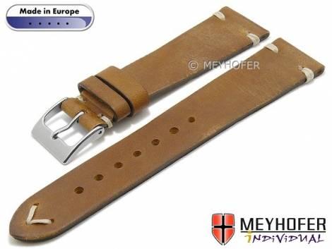 Hand made watch strap -Havre- 16mm light brown leather vintage look light stitching by MEYHOFER (width of buckle 14 mm) - Bild vergrößern