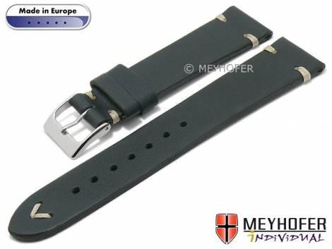Hand made watch strap -Havre- 16mm dark blue leather vintage look light stitching by MEYHOFER (width of buckle 14 mm) - Bild vergrößern