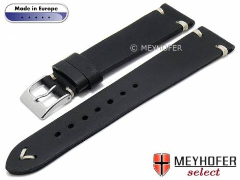 Hand made watch strap -Havre- 16mm black leather vintage look light stitching by MEYHOFER (width of buckle 14 mm) - Bild vergrößern