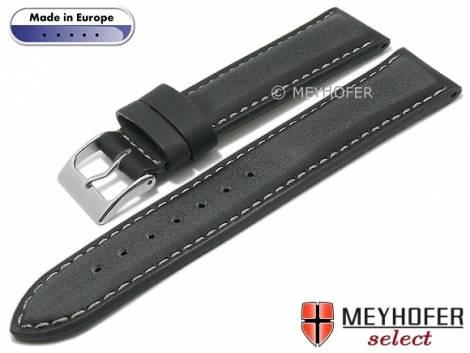 Hand made watch strap -Sassari- 22mm anthracite leather smooth matt light stitching by MEYHOFER (width of buckle 20 mm) - Bild vergrößern