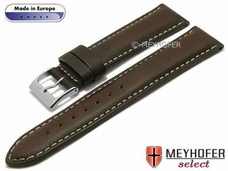 Hand made watch strap -Sassari- 18mm dark brown leather smooth matt light stitching by MEYHOFER (width of buckle 16 mm) - Bild vergrößern