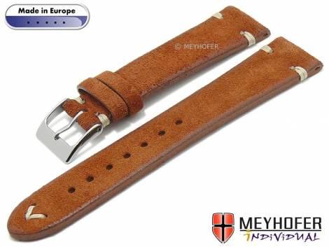 Hand made watch strap -Eugene- 16mm red brown leather vintage look light stitching by MEYHOFER (width of buckle 14 mm) - Bild vergrößern