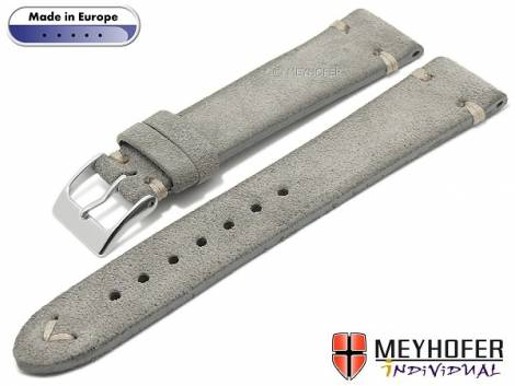 Hand made watch strap -Eugene- 16mm grey leather vintage look light stitching by MEYHOFER (width of buckle 14 mm) - Bild vergrößern