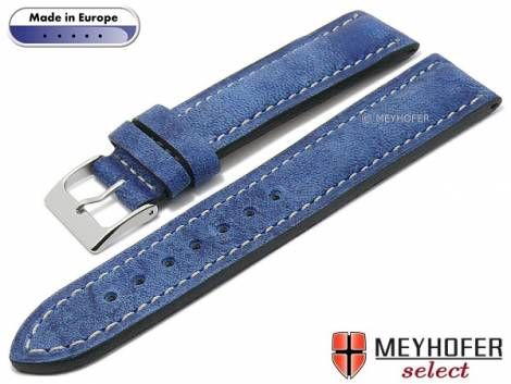 Hand made watch strap -Como- 24mm blue leather vintage look light stitching by MEYHOFER (width of buckle 22 mm) - Bild vergrößern