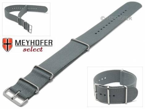 Watch strap -Ohio- 28mm grey textile 3 metal loops one-piece strap in NATO style by MEYHOFER - Bild vergrößern