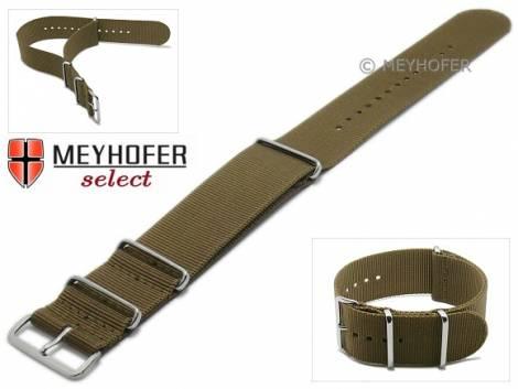 Watch strap -Ohio- 28mm brown textile 3 metal loops one-piece strap in NATO style by MEYHOFER - Bild vergrößern